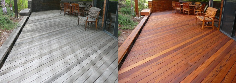 Redwood deck before & after cleaning and preserving