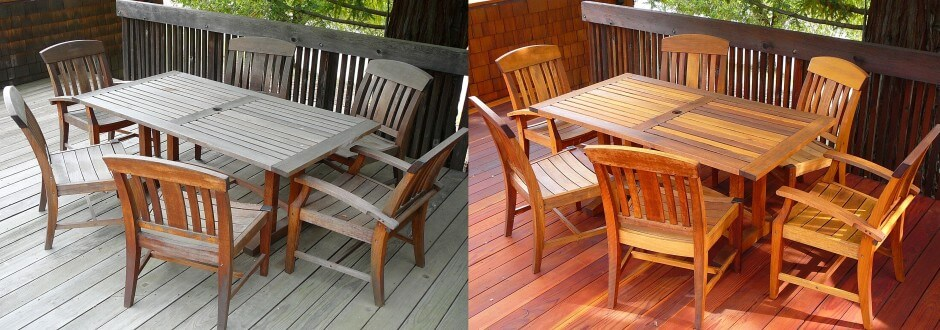 Teak furniture before & after cleaning and staining