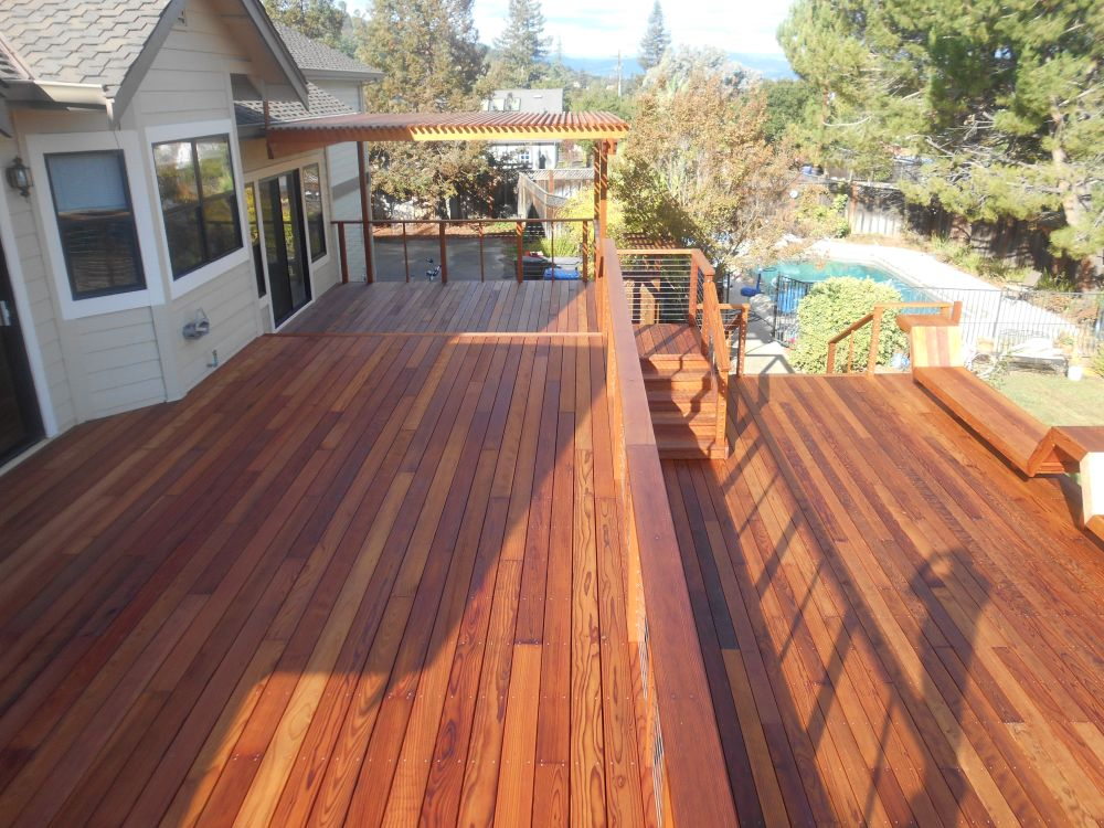 New redwood deck cal preserving for Exterior timber decking