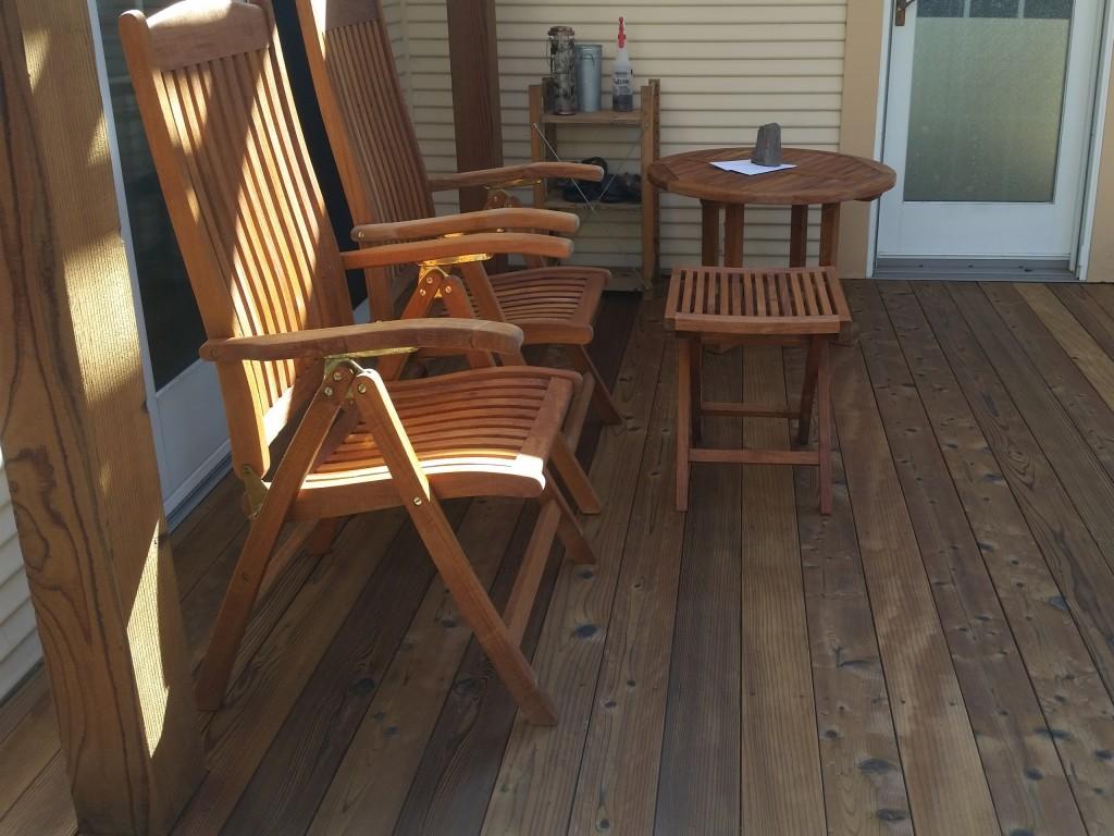 redwood deck and teak furniture after restoration