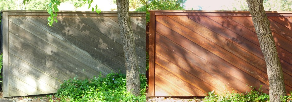 Redwood fence before & after Cal Preserving's restoration process