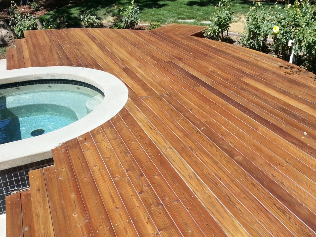 Solid Stained Redwood Deck Cal Preserving