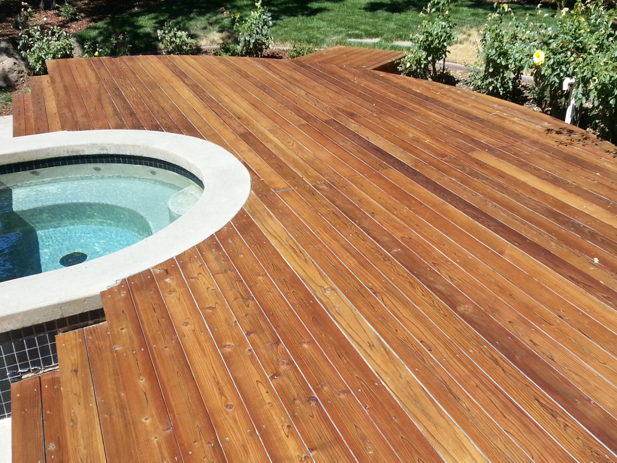 Solid Stained Redwood Deck